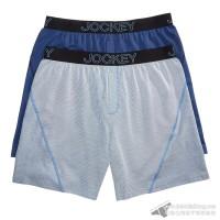 Quần boxer nam Jockey Knit No Bunch 2-pack Blue Pinstripe/Solid